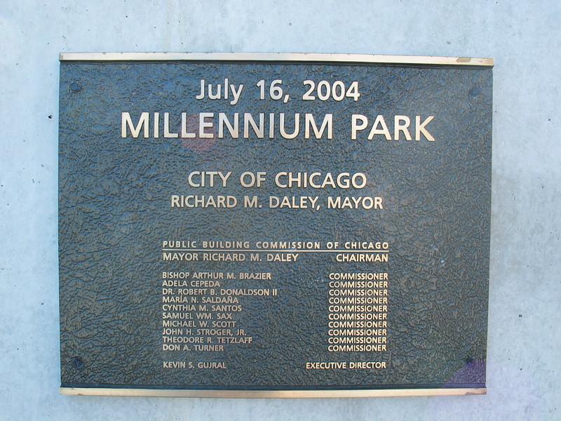 Millennium Park Plaque