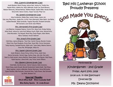 2018-04-27 K-2nd Grade God Made Me Special