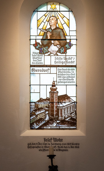 Stained-glass tribute to Fr. Josef Mohr