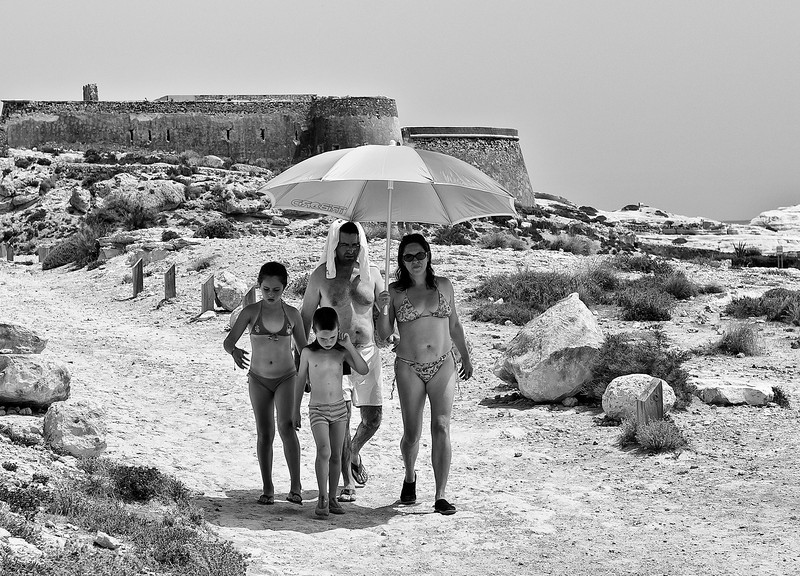 Family at El Playaso beach in Cabo de Gata.  Almeria, Spain, 2012.