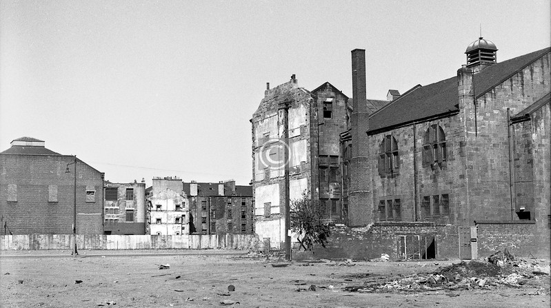 . . . and this shows the back of the Coliseum, what was left of the tenement block at the corner of Eglinton St. and Herbertson St., and again the Synagogue.
