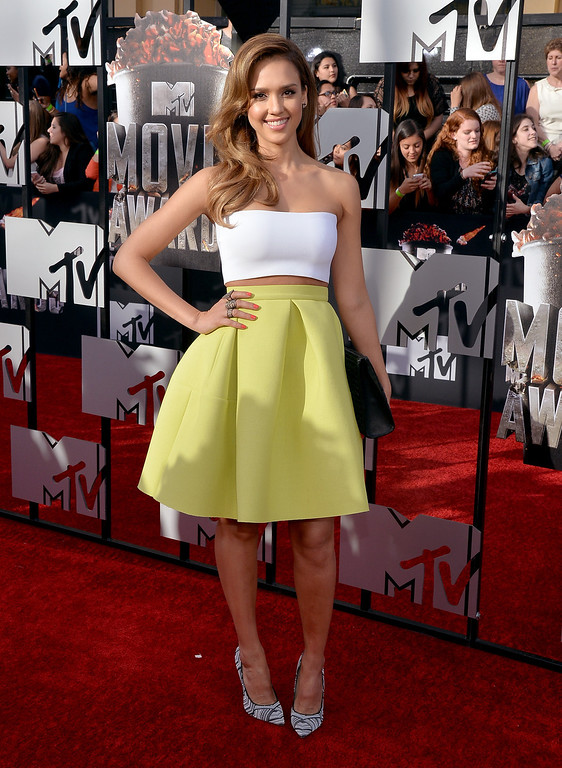 . Actress Jessica Alba attends the 2014 MTV Movie Awards at Nokia Theatre L.A. Live on April 13, 2014 in Los Angeles, California.  (Photo by Michael Buckner/Getty Images)