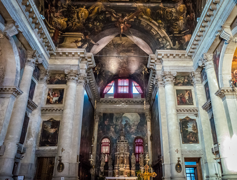 Inside the church of Saint Pantalon in Venice