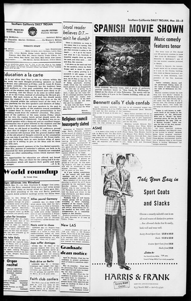 Daily Trojan, Vol. 36, No. 84, March 22, 1945