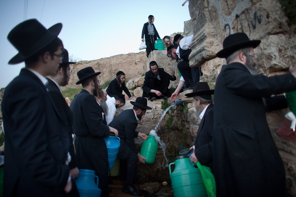 . Ultra-Orthodox Jews fill containers with water from a mountain spring to be used to bake the matzoth (unleavened bread) during the Maim Shelanu ceremony on March 14, 2013 in Jerusalem, Israel. Religious Jews throughout the world eat matzoth during the eight-day Passover, or Pesach, holiday, The Jewish holiday commemorates the Israelis\' exodus from Egypt some 3,500 years ago and their ancestors\' plight by refraining from eating leavened food. Passover begins March 25 and ends on the evening of April 02. (Photo by Uriel Sinai/Getty Images)