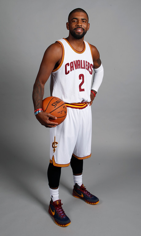 . Cleveland Cavaliers guard Kyrie Irving poses during a NBA basketball media day, Monday, Sept. 26, 2016, in Independence, Ohio. (AP Photo/Ron Schwane)