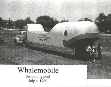 """From the YMCA website - Swimmobile, a tractor-trailer – later dubbed the """"Whalemobile"""" – with swimming pool on the back of the trailer, was invented by YMCA Director, Gerry Croushore. The swimmoble was driven from playground to playground in Hillside, Linden and Union where it was parked for one or two weeks while instructors gave swimming lessons. The swimmobile was so popular that a gymobile and nursery school trailer were also added."""