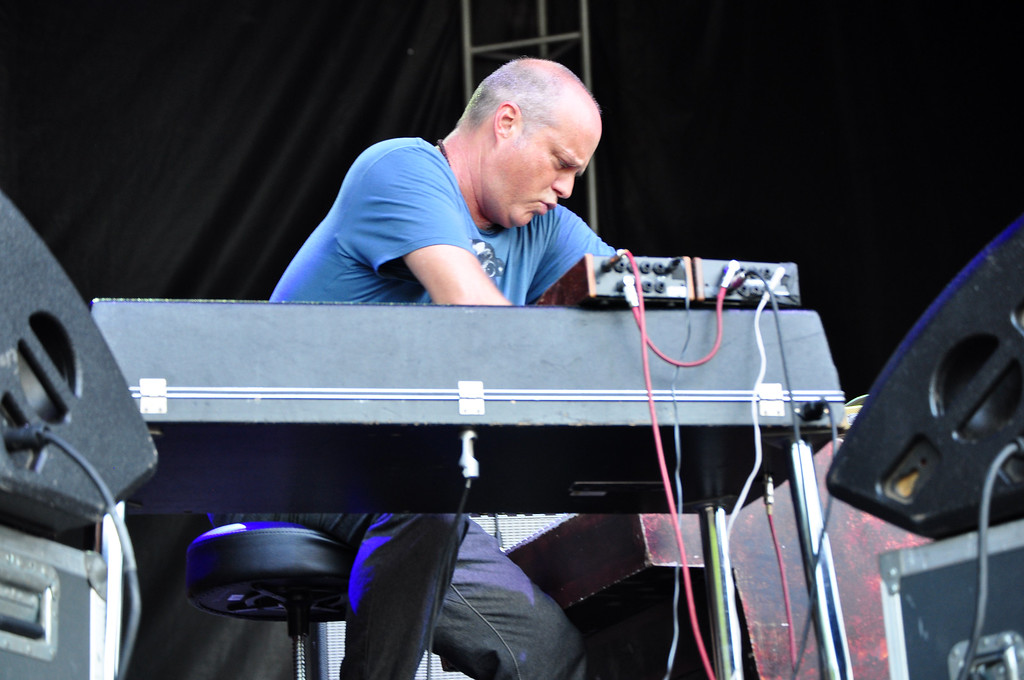 . Jack Guerino/ North Adams Transcript John Medeski leads Medeski Martin and Wood on the keyboard during the last performance of the Solid Sound Festival Sunday.