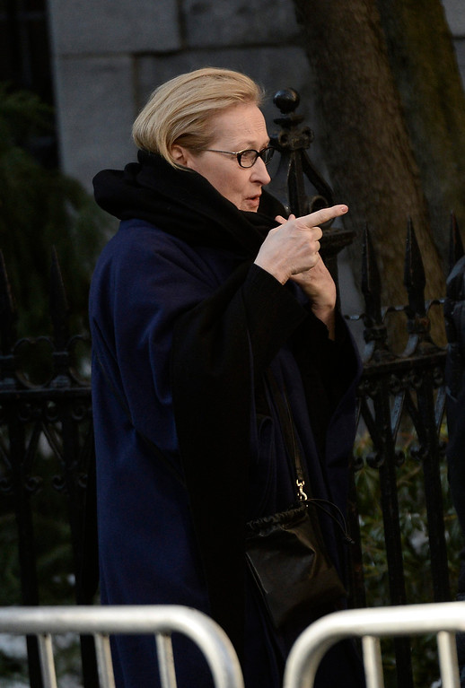 . US actress Meryl Streep arrives for the Funeral Mass for US Actor Phillip Seymour Hoffman at St Ignatius Church in New York, New York, USA 07 February 2014. Hoffman, 46, died 02 February from a suspected drug overdose.  EPA/ANDREW GOMBERT