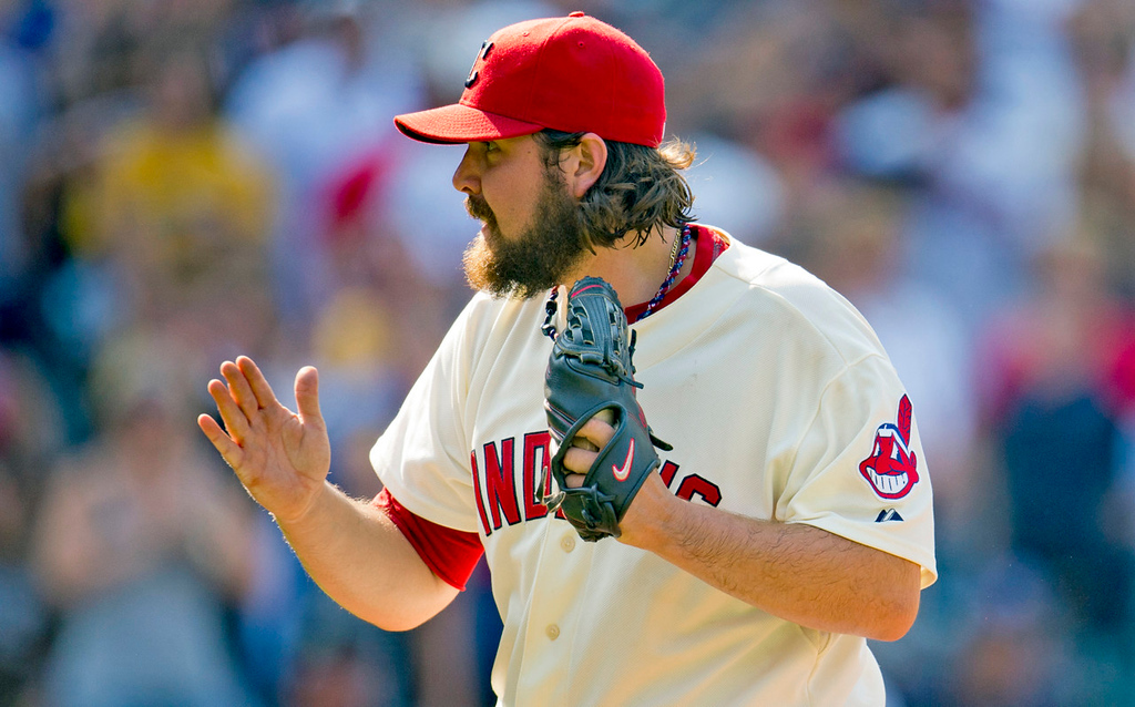 . Indians closer Chris Perez celebrates after saving Cleveland\'s 3-1 win over the Twins, his 21st save of the year. (Photo by Jason Miller/Getty Images)