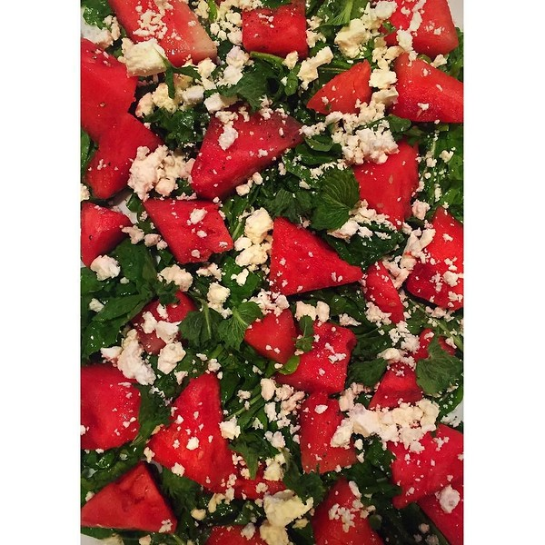 On the table tonite: watermelon, arugula, mint and feta salad (a @stephandthegoat recipe)