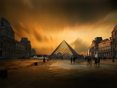View of famous Louvre Museum with Louvre Pyramid