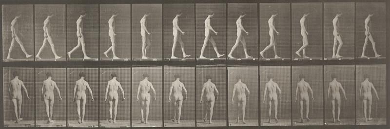 Nude man with locomotor ataxia walking (Animal Locomotion, 1887, plate 546)