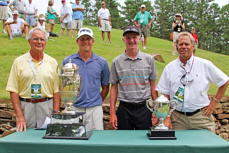Kramer Hickok, second from left, (4) and David Snyder (5) before their quarterfinal match during the 111th Western Amateur at The Alotian Club in Roland, AR. (WGA Photo/Ian Yelton)