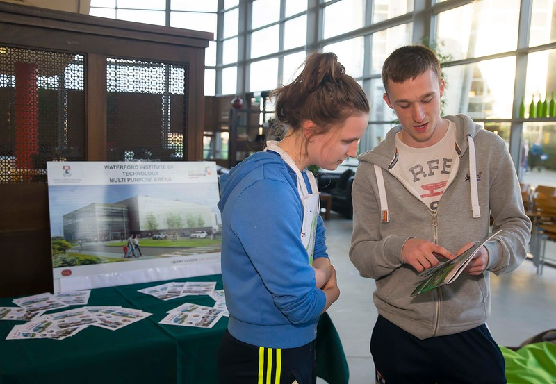 05/04/2016. Waterford Institute of Technology (WIT) CAO Information Evening are Colm Burke WIT and Ciara Coughlin, Kilmihil, Co. Clare Picture: Patrick Browne  Prospective students travelled from far and wide to the Waterford Institute of Technology (WIT) CAO Information Evening on Tuesday 5 April to hear in detail about the brand new WIT President's Scholarship Programme worth up to €12,000 a year for five students. For September 2016, WIT is offering an exciting new scholarship scheme which encourages and rewards young people who show a capacity to shape a better society. WIT has 70 CAO courses. Details are available at www.wit.ie/caoscholarship