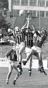 1996: Battling for the dropping ball at the Athletic Grounds. RS9636105