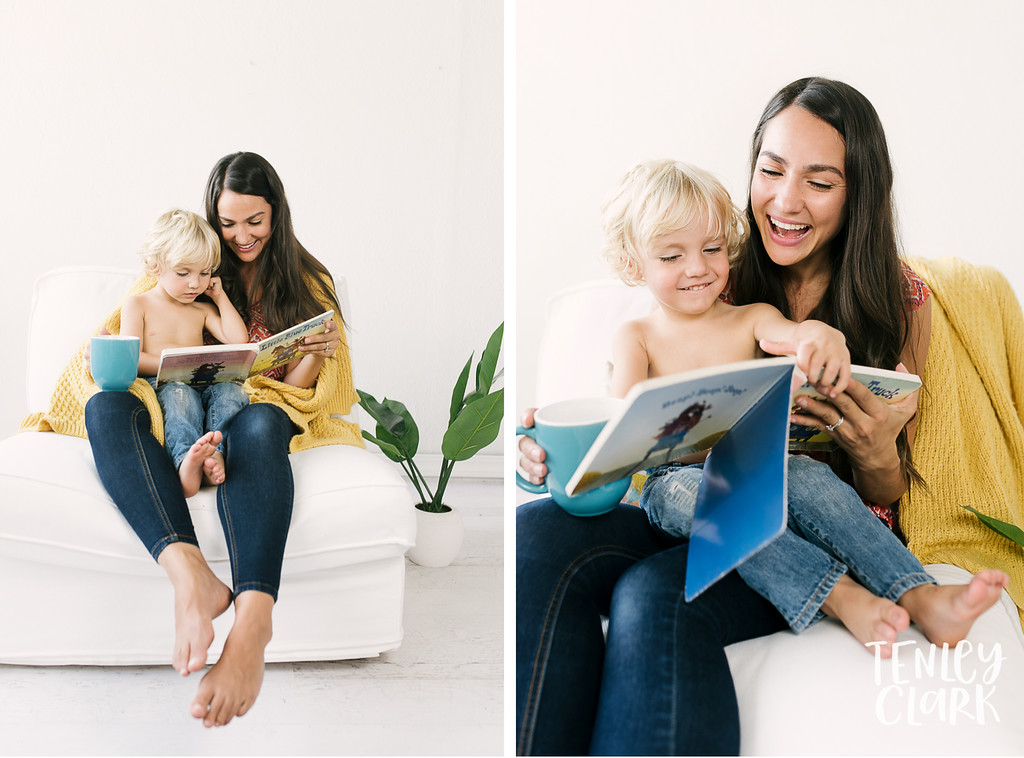 Lifestyle portraits of mother and son reading in studio. Commercial photography by Tenley Clark.