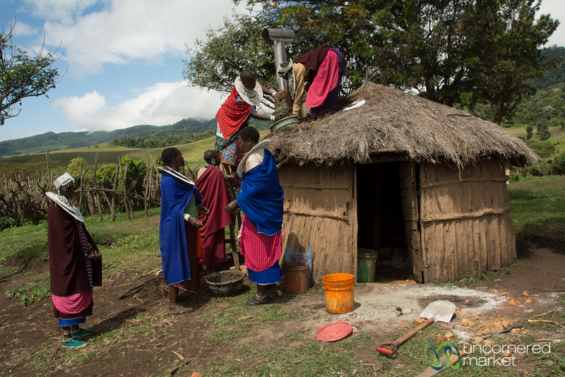 Installing a Clean Cookstove, Final Touches - Tanzania