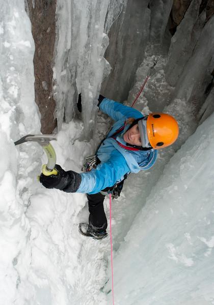 Kitty Calhoun ice climbing near Ouray, Colorado.
