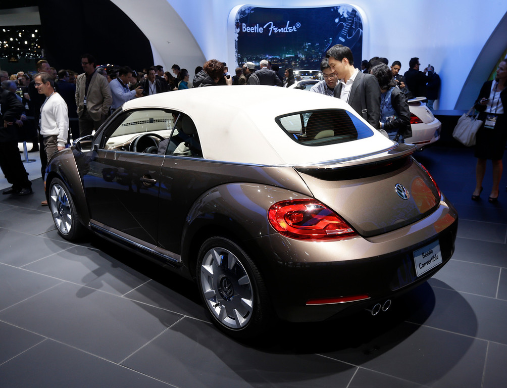 . Volkswagen Beetle convertible is shown during it\'s world debut at the LA Auto Show in Los Angeles, Wednesday, Nov. 28, 2012. The annual Los Angeles Auto Show opened to the media Wednesday at the Los Angeles Convention Center. The show opens to the public on Friday, November 30. (AP Photo/Chris Carlson)