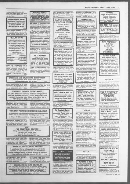 Daily Trojan, Vol. 108, No. 7, January 23, 1989