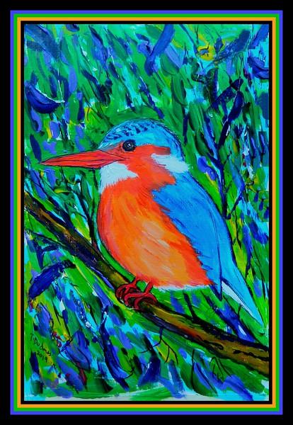 1-Malachite Kingfisher, 155x230mm, acrylic on paper, jan 13, 2019.DSCN9773A