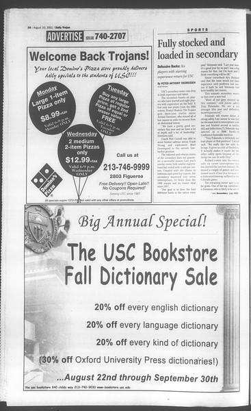 Daily Trojan, Vol. 144, No. 1, August 20, 2001