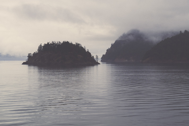 Land and water on a foggy overcast day seen from the ferry while heading to Anacortes. The small landmass is Willow island.