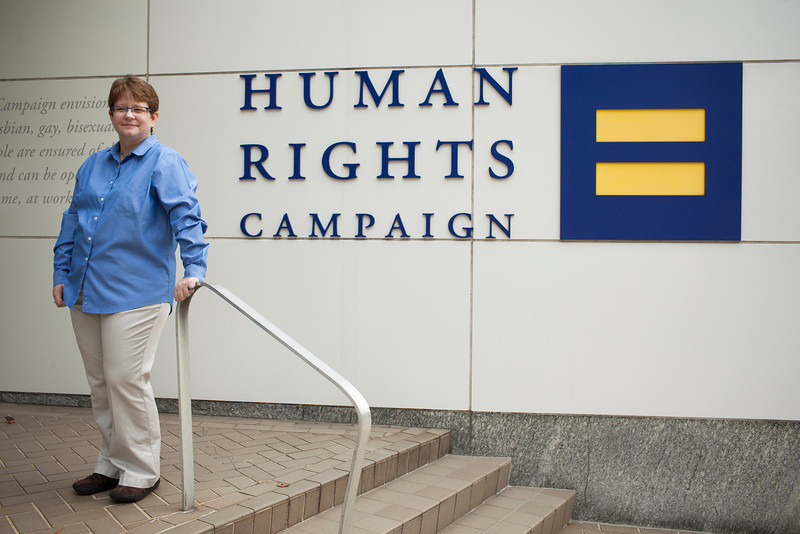 Janice Langbehn photographed near HRC in Washington DC, October 18th, 2011. Photo by Dakota Fine.