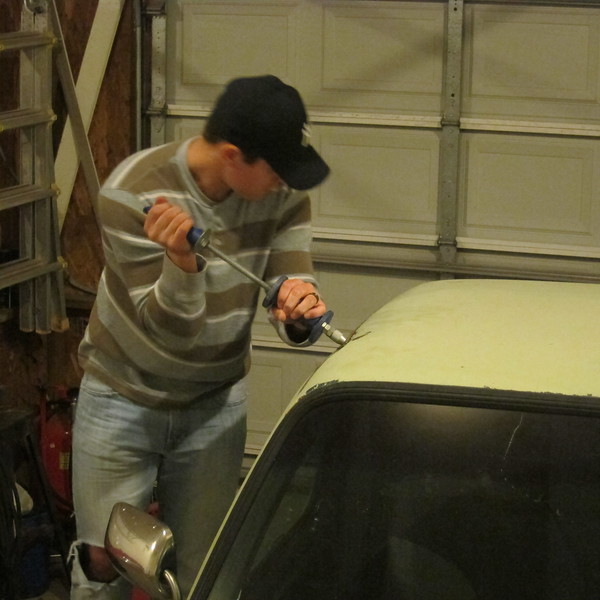 Dented roof body work