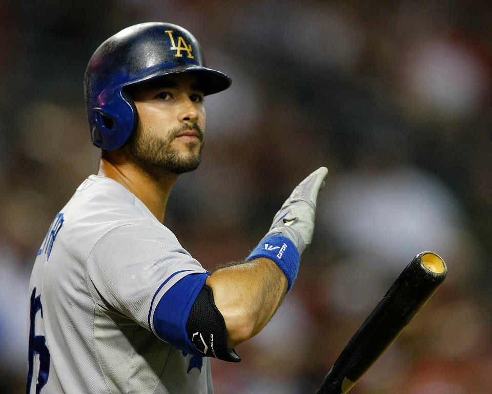 . Los Angeles Dodgers right fielder Andre Ethier (16) in the third inning during a baseball game against the Arizona Diamondbacks on Monday, July 8, 2013, in Phoenix. (AP Photo/Rick Scuteri)