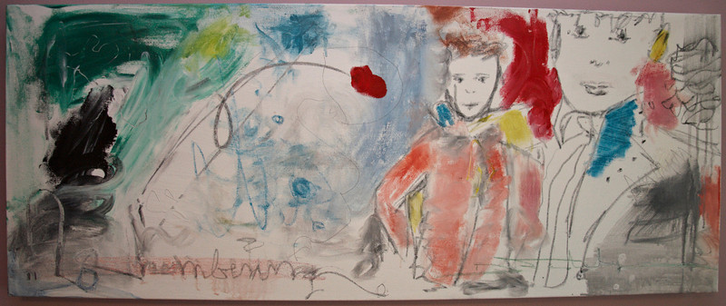 "2011, 16"" x 40"". Watchful Eye, Acrylic, pastel, charcoal and pencil on canvas."