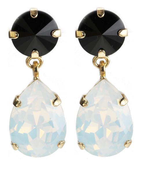Classic Drop Earrings / Jet + White Opal
