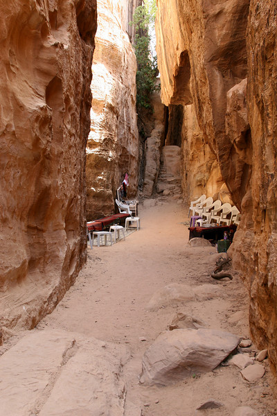 Little Petra (Siq Al-Barid) - Halfway along the passage way through to the next valley was a local Bedouin woman selling tea.
