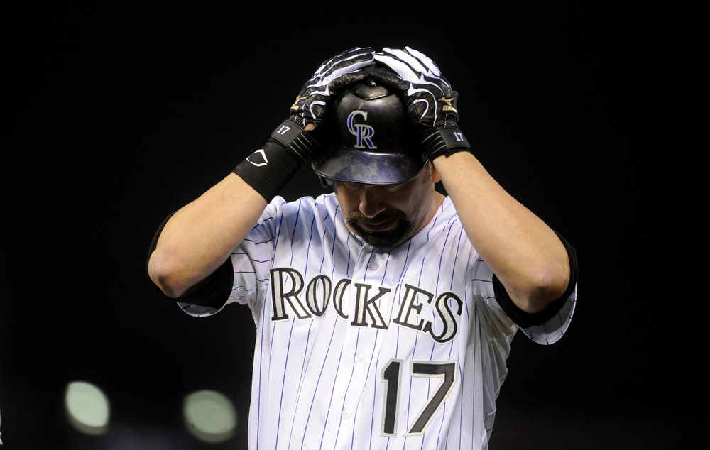 . Colorado Rockies first baseman Todd Helton (17) reacts after popping out against the San Francisco Giants during their game at Coors Field on Monday, May 16, 2011. AAron Ontiveroz, The Denver Post