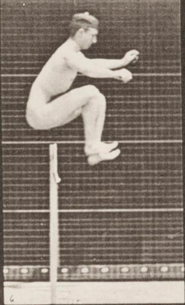 Nude man jumping, running straight high jump
