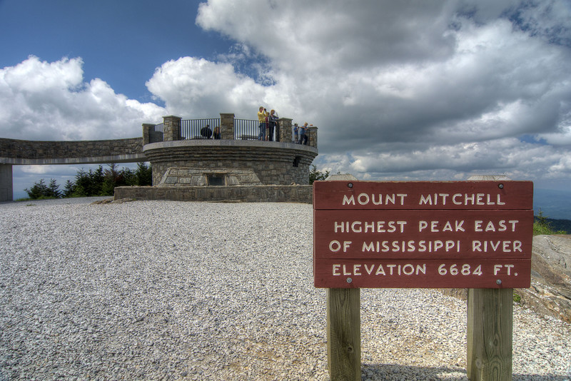 Sign noting the height of Mt. Mitchell in Mount Mitchell State Park at Milepost 355.4 on the Blue Ridge Parkway in NC on Saturday, June 15, 2013. Copyright 2013 Jason Barnette