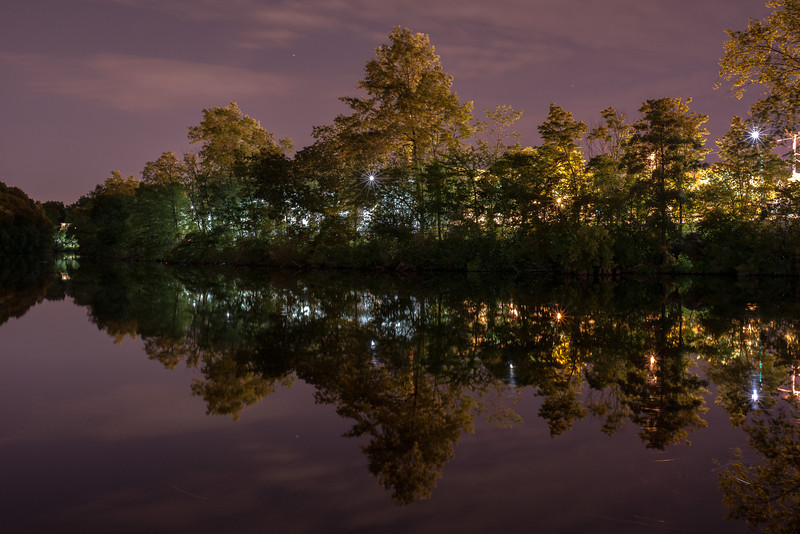 Night on the Charles River on Watertown Square