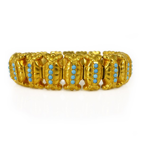 Antique Victorian Gold Plated Turquoise Glass Panel Bracelet