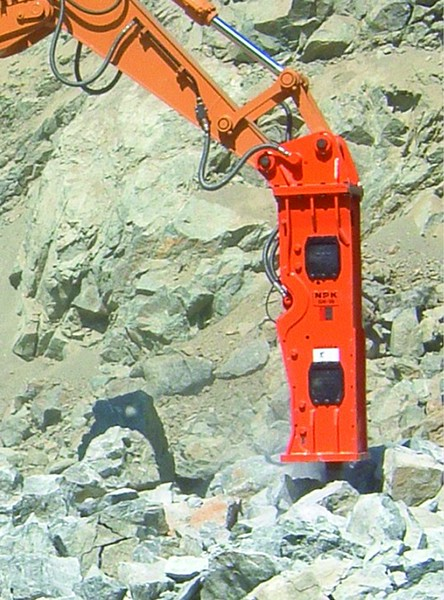NPK GH18 hydraulic hammer on Case CX330 excavator.jpg
