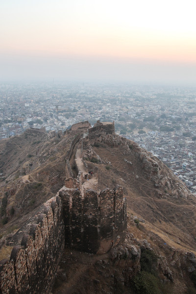 Detail of the fort walls and the city below.