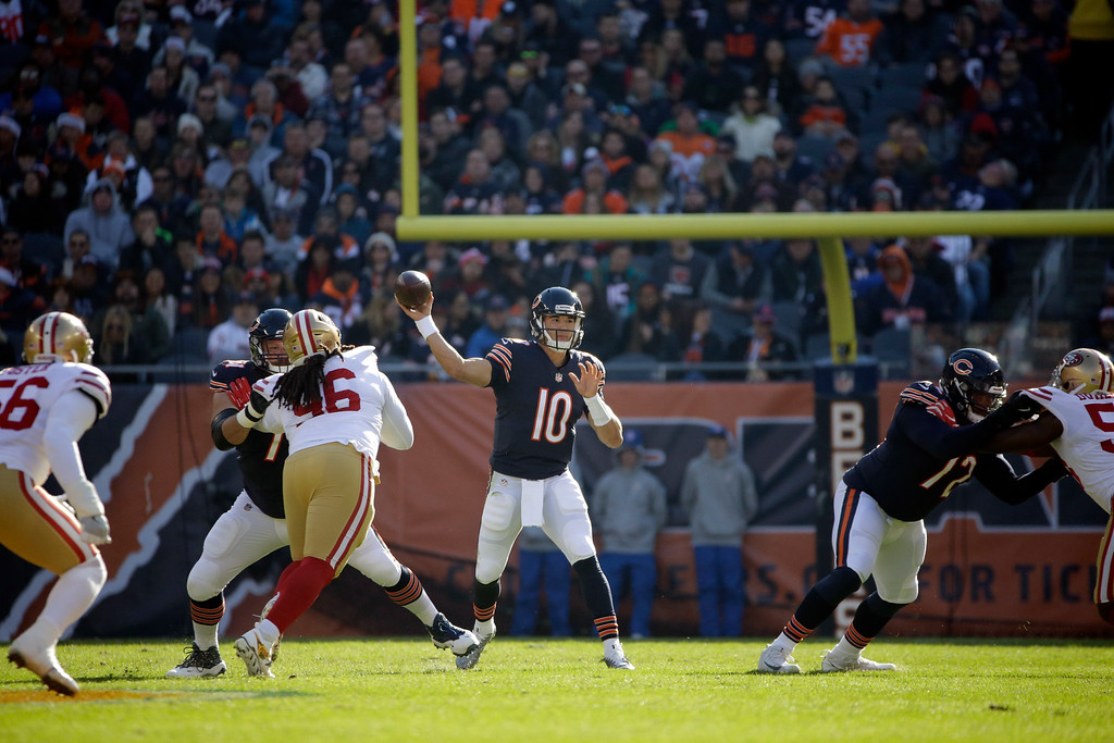 . Chicago Bears quarterback Mitchell Trubisky (10) throws during the first half of an NFL football game against the San Francisco 49ers, Sunday, Dec. 3, 2017, in Chicago. (AP Photo/Nam Y. Huh)