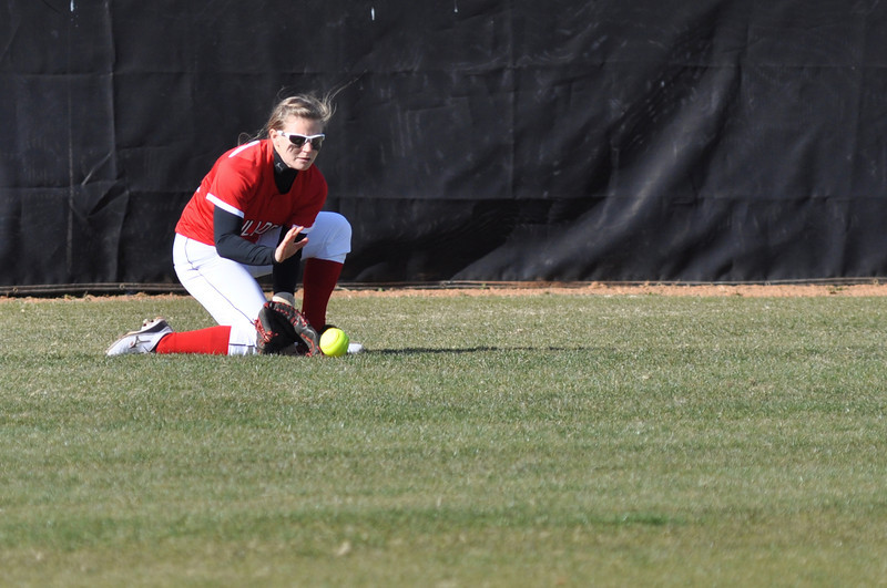 Melinda Dulkowski scoops up a hit to the outfield against USC Upstate Thursday March 7, 2013.
