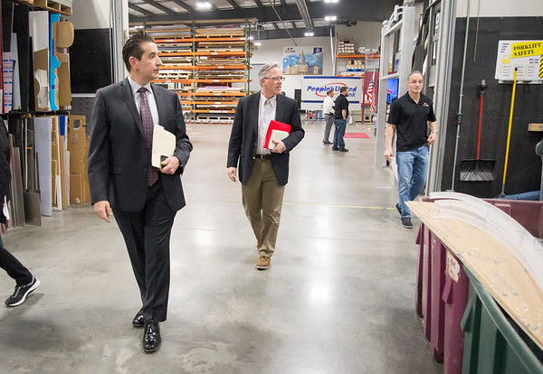 02/10/20 Wesley Bunnell | StaffrrCT State Chief Manufacturing Officer Colin Cooper visited Sign Pro, Inc. in Southington on Monday February 10, 2020. Sign Pro President Peter Rappoccio leads Cooper through a tour of his business.