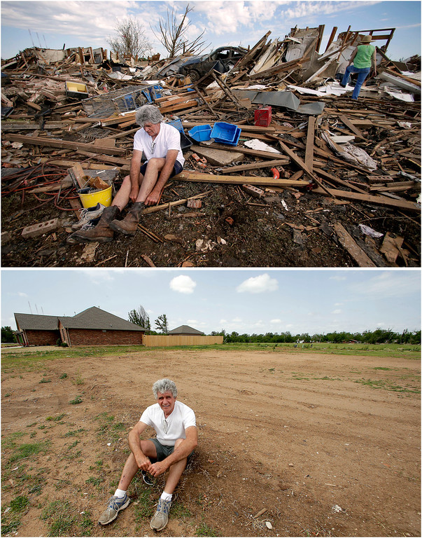 . In this photo combination, Rick Brown puts on a pair of boots after finding them in his tornado-ravaged home in Moore, Okla., on May 22, 2013, top, and sits on the now-cleared lot on May 8, 2014, bottom. Brown said construction should start soon on a new home to replace the one destroyed by the massive tornado that tore a wide swath through the Oklahoma City suburb on May 20, 2013. (AP Photo/Charlie Riedel)