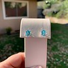3.47ctw Blue Zircon Hexagon Stud Earrings 8