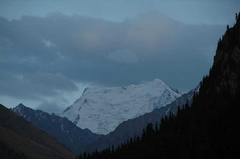 Snow Covered Peaks at Altyn Arashan, Kyrgyzstan