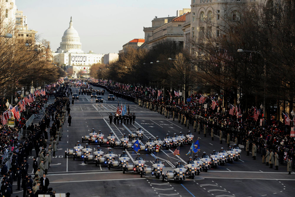 Description of . The 57th Presidential Inaugural Parade rolls down Pennsylvania Avenue from Capitol Hill in Washington, Monday,Jan. 21,2013, following President Barack Obama's ceremonial swearing-in ceremony during the 57th Presidential Inauguration. (AP Photo/Alex Brandon)