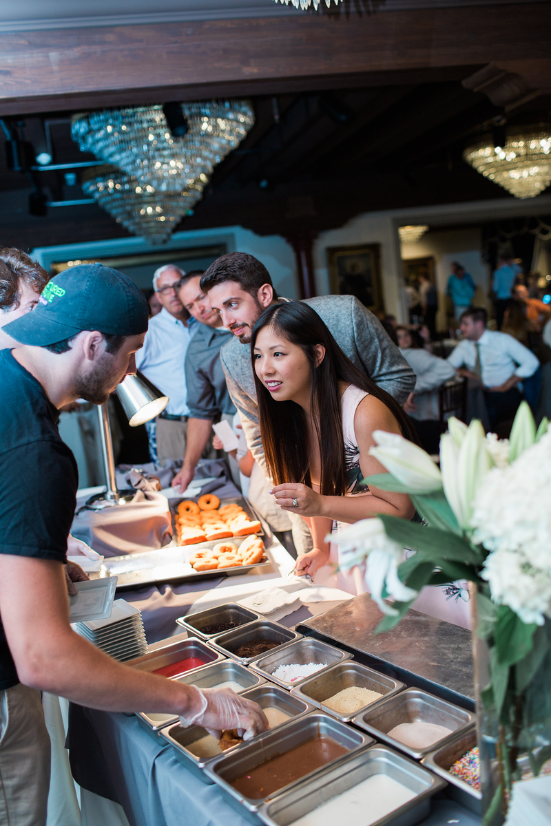 Custom donut bar at 1840s Plaza wedding. For more images from Baltimore's top wedding photographer Jalapeno Photography, see http://www.jalapenophotography.com