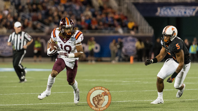 Hezekiah Grimsley (19) runs upfield after a catch in the Camping World Bowl between Virginia Tech and Oklahoma State in Orlando, Fl., Thursday, Dec. 28, 2017. (Special by Cory Hancock)
